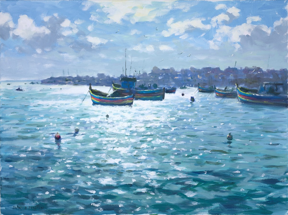 Boats, Malta by james preston -  sized 24x18 inches. Available from Whitewall Galleries